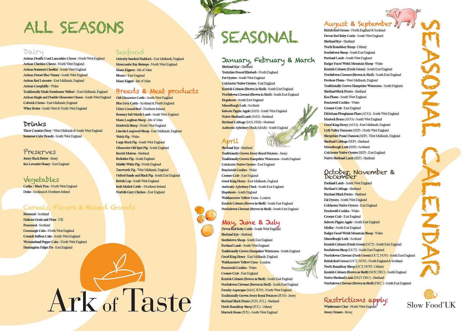 new seasonal calendar slow food in the uk